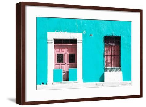 ¡Viva Mexico! Collection - 130 Street Campeche - Turquoise Wall-Philippe Hugonnard-Framed Art Print