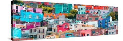 ¡Viva Mexico! Panoramic Collection - Colorful Cityscape Guanajuato XIV-Philippe Hugonnard-Stretched Canvas Print
