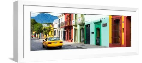 ¡Viva Mexico! Panoramic Collection - Yellow Taxi and Colorful Street in Oaxaca-Philippe Hugonnard-Framed Art Print