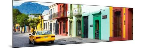 ¡Viva Mexico! Panoramic Collection - Yellow Taxi and Colorful Street in Oaxaca-Philippe Hugonnard-Mounted Photographic Print
