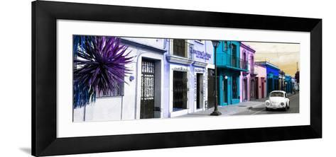 ¡Viva Mexico! Panoramic Collection - Colorful Mexican Street with White VW Beetle III-Philippe Hugonnard-Framed Art Print