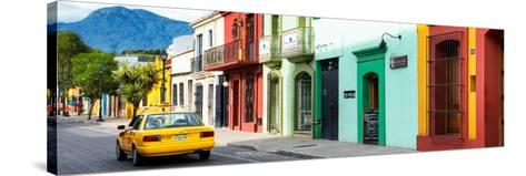 ¡Viva Mexico! Panoramic Collection - Yellow Taxi and Colorful Street in Oaxaca-Philippe Hugonnard-Stretched Canvas Print