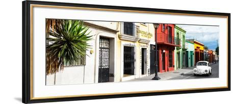 ¡Viva Mexico! Panoramic Collection - Colorful Mexican Street with White VW Beetle-Philippe Hugonnard-Framed Art Print