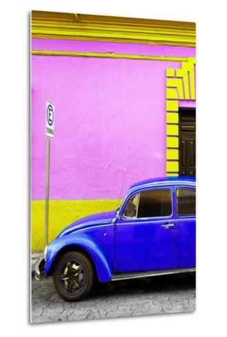 ?Viva Mexico! Collection - Royal Blue VW Beetle Car and Colorful Wall-Philippe Hugonnard-Metal Print