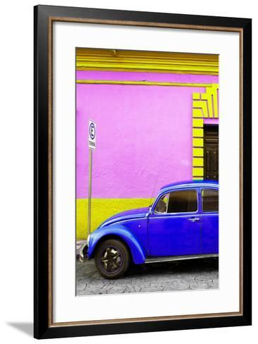 ?Viva Mexico! Collection - Royal Blue VW Beetle Car and Colorful Wall-Philippe Hugonnard-Framed Art Print