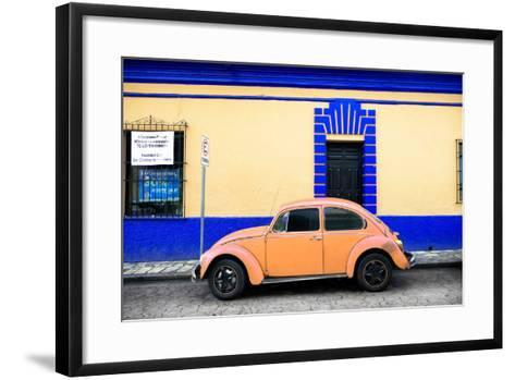 ¡Viva Mexico! Collection - Classic Coral VW Beetle Car and Colorful Wall-Philippe Hugonnard-Framed Art Print