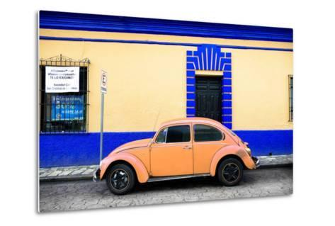 ¡Viva Mexico! Collection - Classic Coral VW Beetle Car and Colorful Wall-Philippe Hugonnard-Metal Print