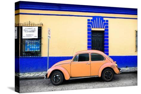 ¡Viva Mexico! Collection - Classic Coral VW Beetle Car and Colorful Wall-Philippe Hugonnard-Stretched Canvas Print