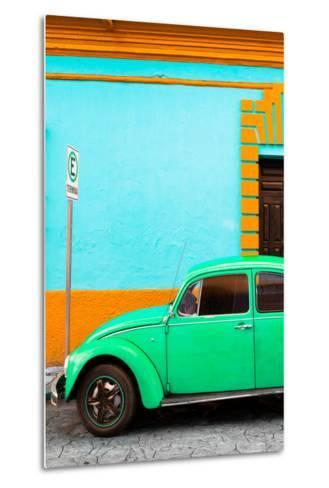 ¡Viva Mexico! Collection - Green VW Beetle Car and Colorful Wall-Philippe Hugonnard-Metal Print