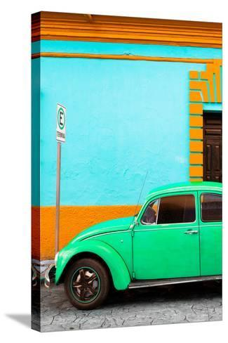 ¡Viva Mexico! Collection - Green VW Beetle Car and Colorful Wall-Philippe Hugonnard-Stretched Canvas Print
