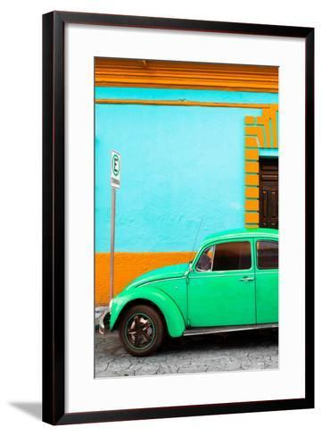 ¡Viva Mexico! Collection - Green VW Beetle Car and Colorful Wall-Philippe Hugonnard-Framed Art Print