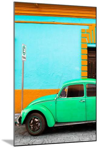 ¡Viva Mexico! Collection - Green VW Beetle Car and Colorful Wall-Philippe Hugonnard-Mounted Photographic Print