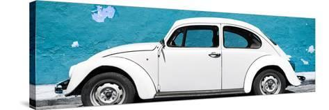 ¡Viva Mexico! Panoramic Collection - White VW Beetle Car and Blue Street Wall-Philippe Hugonnard-Stretched Canvas Print