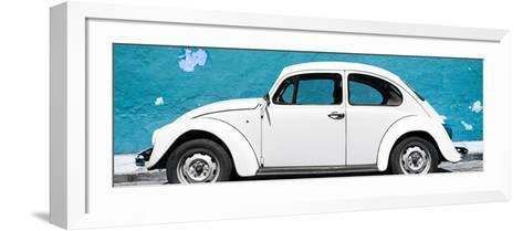 ¡Viva Mexico! Panoramic Collection - White VW Beetle Car and Blue Street Wall-Philippe Hugonnard-Framed Art Print