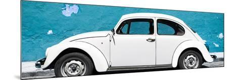 ¡Viva Mexico! Panoramic Collection - White VW Beetle Car and Blue Street Wall-Philippe Hugonnard-Mounted Photographic Print