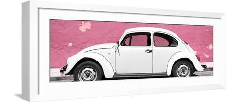¡Viva Mexico! Panoramic Collection - White VW Beetle Car and Light Pink Street Wall-Philippe Hugonnard-Framed Art Print