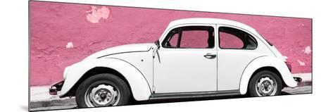 ¡Viva Mexico! Panoramic Collection - White VW Beetle Car and Light Pink Street Wall-Philippe Hugonnard-Mounted Photographic Print