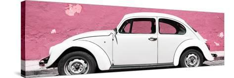 ¡Viva Mexico! Panoramic Collection - White VW Beetle Car and Light Pink Street Wall-Philippe Hugonnard-Stretched Canvas Print