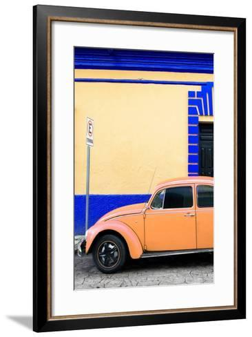 ?Viva Mexico! Collection - Orange VW Beetle Car and Colorful Wall-Philippe Hugonnard-Framed Art Print