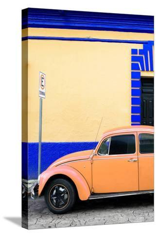 ?Viva Mexico! Collection - Orange VW Beetle Car and Colorful Wall-Philippe Hugonnard-Stretched Canvas Print