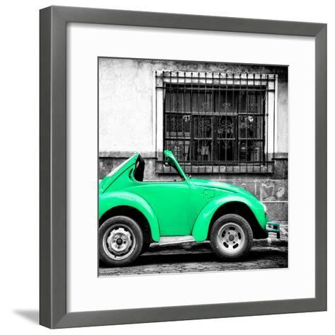 ¡Viva Mexico! Square Collection - Small Coral Green VW Beetle Car-Philippe Hugonnard-Framed Art Print
