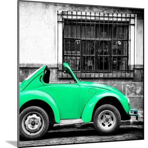 ¡Viva Mexico! Square Collection - Small Coral Green VW Beetle Car-Philippe Hugonnard-Mounted Photographic Print
