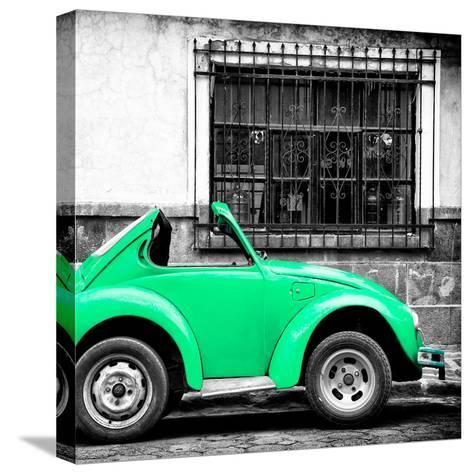 ¡Viva Mexico! Square Collection - Small Coral Green VW Beetle Car-Philippe Hugonnard-Stretched Canvas Print