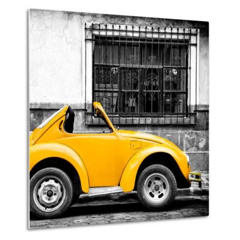 ¡Viva Mexico! Square Collection - Small Yellow VW Beetle Car-Philippe Hugonnard-Metal Print