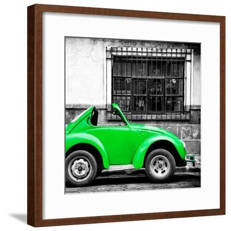 ¡Viva Mexico! Square Collection - Small Green VW Beetle Car-Philippe Hugonnard-Framed Art Print