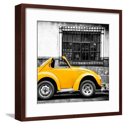 ¡Viva Mexico! Square Collection - Small Yellow VW Beetle Car-Philippe Hugonnard-Framed Art Print