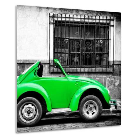 ¡Viva Mexico! Square Collection - Small Green VW Beetle Car-Philippe Hugonnard-Metal Print