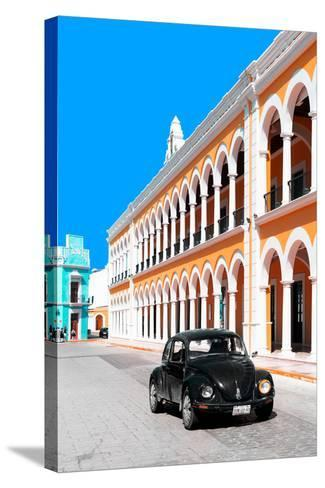 ¡Viva Mexico! Collection - Black VW Beetle and Orange Architecture - Campeche-Philippe Hugonnard-Stretched Canvas Print