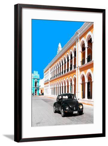 ¡Viva Mexico! Collection - Black VW Beetle and Orange Architecture - Campeche-Philippe Hugonnard-Framed Art Print