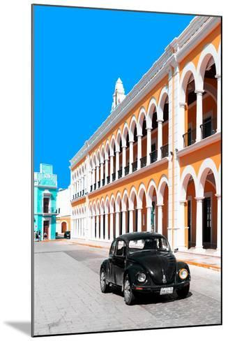 ¡Viva Mexico! Collection - Black VW Beetle and Orange Architecture - Campeche-Philippe Hugonnard-Mounted Photographic Print