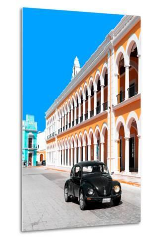 ¡Viva Mexico! Collection - Black VW Beetle and Orange Architecture - Campeche-Philippe Hugonnard-Metal Print