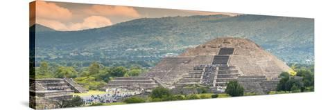 ¡Viva Mexico! Panoramic Collection - Teotihuacan Pyramid of the Sun II-Philippe Hugonnard-Stretched Canvas Print