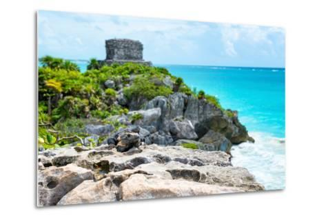 ?Viva Mexico! Collection - Mayan Archaeological Site with Iguana II - Tulum-Philippe Hugonnard-Metal Print