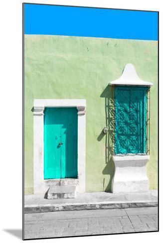 ¡Viva Mexico! Collection - Coral Green and Olive Facade - Campeche-Philippe Hugonnard-Mounted Photographic Print