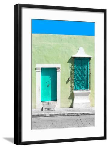 ¡Viva Mexico! Collection - Coral Green and Olive Facade - Campeche-Philippe Hugonnard-Framed Art Print