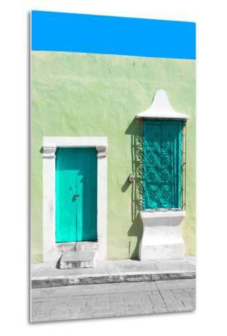 ¡Viva Mexico! Collection - Coral Green and Olive Facade - Campeche-Philippe Hugonnard-Metal Print