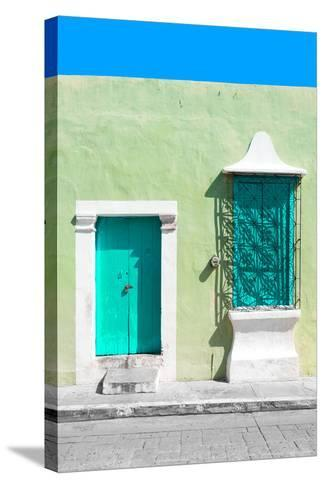 ¡Viva Mexico! Collection - Coral Green and Olive Facade - Campeche-Philippe Hugonnard-Stretched Canvas Print