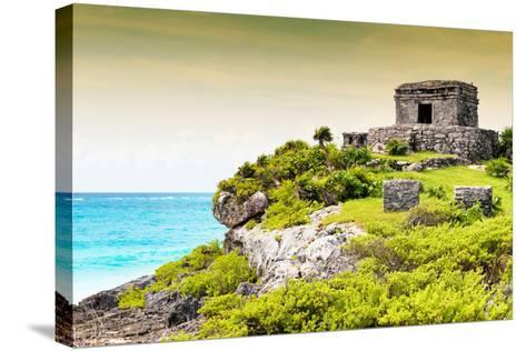 ¡Viva Mexico! Collection - Ancient Mayan Fortress in Riviera Maya at Sunset - Tulum-Philippe Hugonnard-Stretched Canvas Print