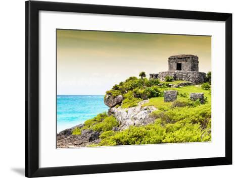 ¡Viva Mexico! Collection - Ancient Mayan Fortress in Riviera Maya at Sunset - Tulum-Philippe Hugonnard-Framed Art Print