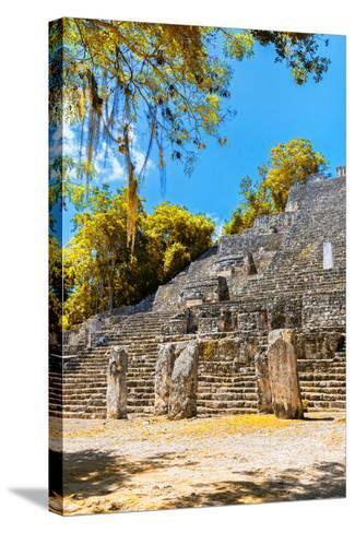 ¡Viva Mexico! Collection - Ruins of the ancient Mayan city with Fall Colors of Calakmul II-Philippe Hugonnard-Stretched Canvas Print