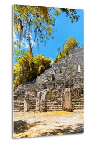 ¡Viva Mexico! Collection - Ruins of the ancient Mayan city with Fall Colors of Calakmul II-Philippe Hugonnard-Metal Print