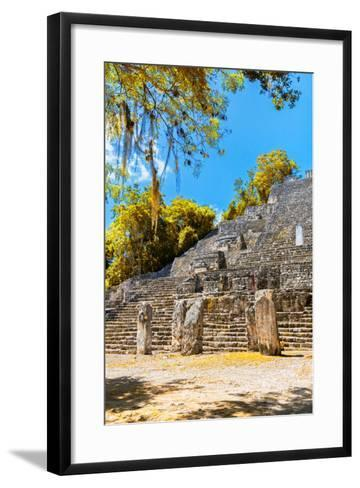 ¡Viva Mexico! Collection - Ruins of the ancient Mayan city with Fall Colors of Calakmul II-Philippe Hugonnard-Framed Art Print