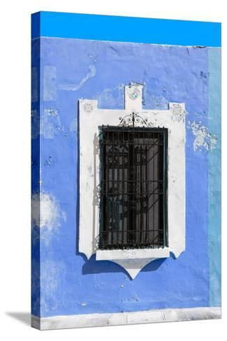 ¡Viva Mexico! Collection - Blue Window - Campeche-Philippe Hugonnard-Stretched Canvas Print