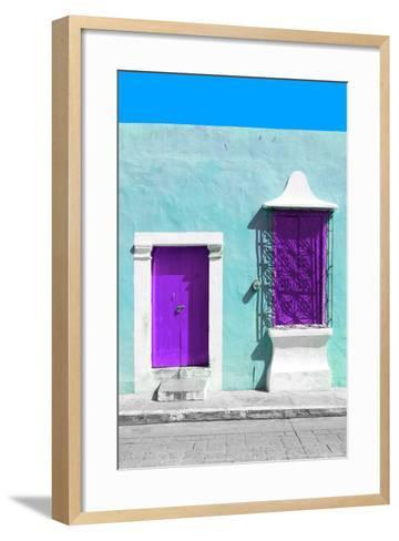 ¡Viva Mexico! Collection - Purple and Powder Blue Facade - Campeche-Philippe Hugonnard-Framed Art Print