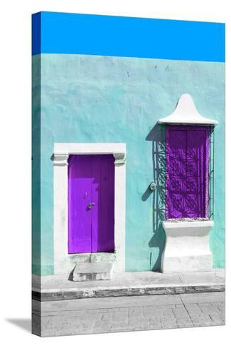 ¡Viva Mexico! Collection - Purple and Powder Blue Facade - Campeche-Philippe Hugonnard-Stretched Canvas Print