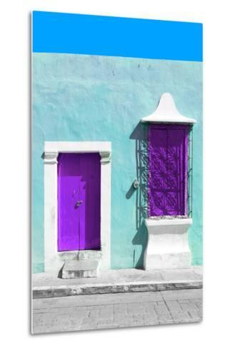 ¡Viva Mexico! Collection - Purple and Powder Blue Facade - Campeche-Philippe Hugonnard-Metal Print